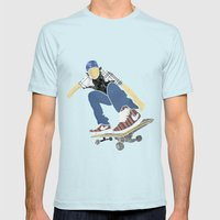 Skateboard 1 Mens Fitted Tee Light Blue SMALL