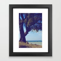 Fisherman In The Distanc… Framed Art Print