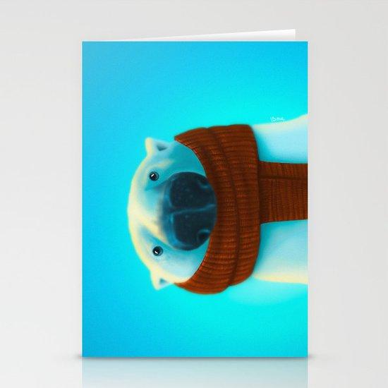 Polar bear with scarf Stationery Card