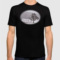 Old Pear Tree On A Winte… Mens Fitted Tee Black SMALL