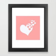 Coral White Hearts of Love Framed Art Print