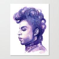 Prince Portrait Purple Watercolor  Canvas Print