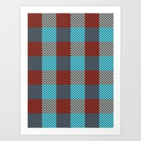 Pixel Plaid - Cranberry Bog Art Print
