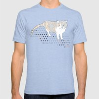 Calico Cat Mens Fitted Tee Tri-Blue SMALL