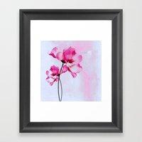 Two Pinks Flowers On Wat… Framed Art Print