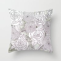 Floral Doodles in Gray Throw Pillow
