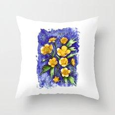 Marsh Marigolds Throw Pillow