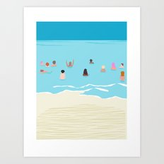 Stoked - memphis throwback retro neon pop art illustration socal cali beach surfing swimming sea Art Print