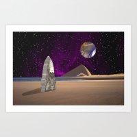 Purple Light Swirls Roun… Art Print