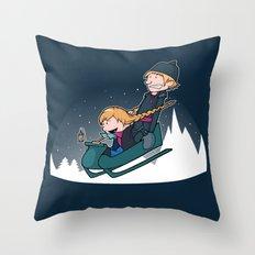 A Snowy Ride Throw Pillow