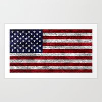 USA Grunge Flag Art Print