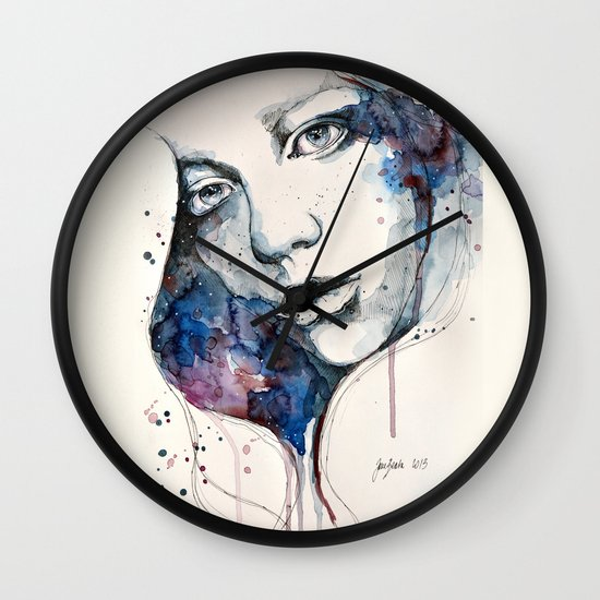 Window, watercolor & ink painting Wall Clock