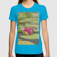 Water lily in the rain Womens Fitted Tee Teal SMALL
