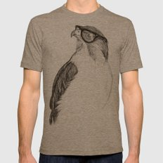 Hawk with Poor Eyesight Mens Fitted Tee Tri-Coffee SMALL