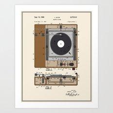 Record Player Patent - Colour Art Print