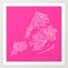 NYC Every-Neighborhood Map Art Print