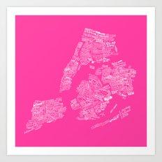 NYC Every-Neighborhood Map Art Print