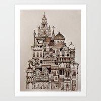 Paris (sepia) Art Print
