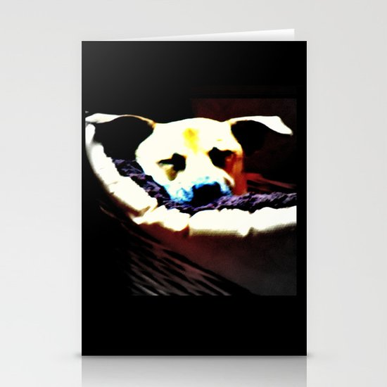 sleeping puppy stuck in basket Stationery Card