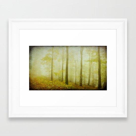 mist in the woods Framed Art Print