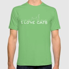 I Love Cats Mens Fitted Tee Grass SMALL