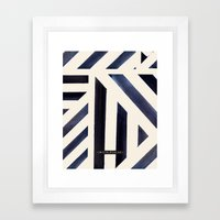 Watercolor Stripe Midnight Framed Art Print