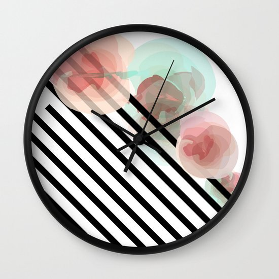 Watercolor Floral with Stripes Wall Clock