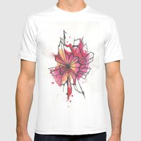 Pink And Yellow Flower E… Mens Fitted Tee White SMALL