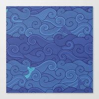Surf Side - NAVY Canvas Print