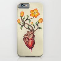 iPhone & iPod Case featuring  THIS BLEEDING BLOSSOMING HEART: ORANGE WILD ROSE by Alex Kujawa