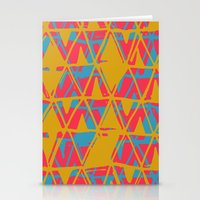 Orange and Blue Printed Triangles Stationery Cards