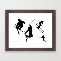 Skiing silhouettes Framed Art Print
