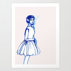 what is she thINKing?blue Art Print