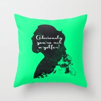 Not a golfer! – The Big Lebowski Silhouette Quote Throw Pillow