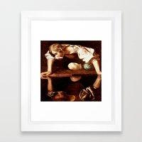 Michelangelo Merisi da Caravaggio, Narcissus at the Source, oil on canvas, 1597-99 Framed Art Print