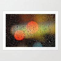 Rain Drops And Color Pop… Art Print