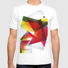 Abstrakt SMALL White Mens Fitted Tee