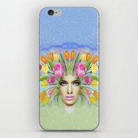 Woman Flowers Colors iPhone & iPod Skin