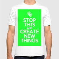 Stop This (Green) Mens Fitted Tee White SMALL