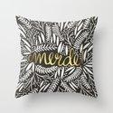 Pardon My French – Gold on Black Throw Pillow
