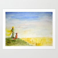 Little Prince, Fox and Wheat Fields Art Print