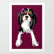 Tri-color Cavalier King Charles Spaniel Puppy Art Print