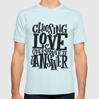 CHOOSE LOVE Mens Fitted Tee Light Blue SMALL