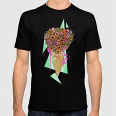 Florals Mens Fitted Tee Black SMALL