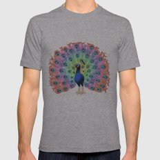 Colorful Peacock Mens Fitted Tee Athletic Grey SMALL