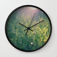 green gras bokeh 1b Wall Clock