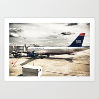 US Aiways Plane At Ronal… Art Print