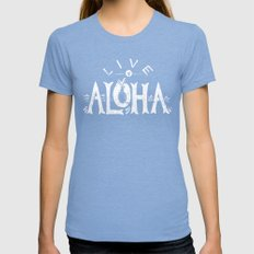 Live Aloha Womens Fitted Tee Tri-Blue SMALL