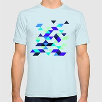 Geometric Blue Polygons Mens Fitted Tee Light Blue SMALL