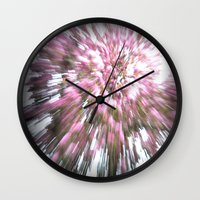 Abstract pink flowers 1 Wall Clock